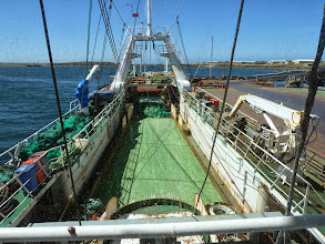 Photo: Trawler in Stanley harbour. Lady Elizabeth in distance, left