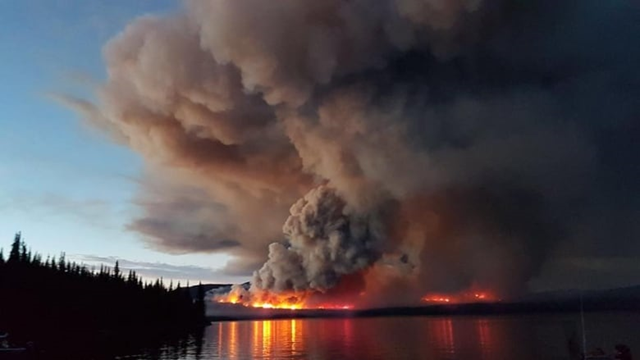 There are hundreds of wildfires burning across British Columbia on 15 August 2018, including this one near the Pondosy Bay Wilderness Resort near Tweedsmuir. Photo: Pondosy Bay Wilderness Resort