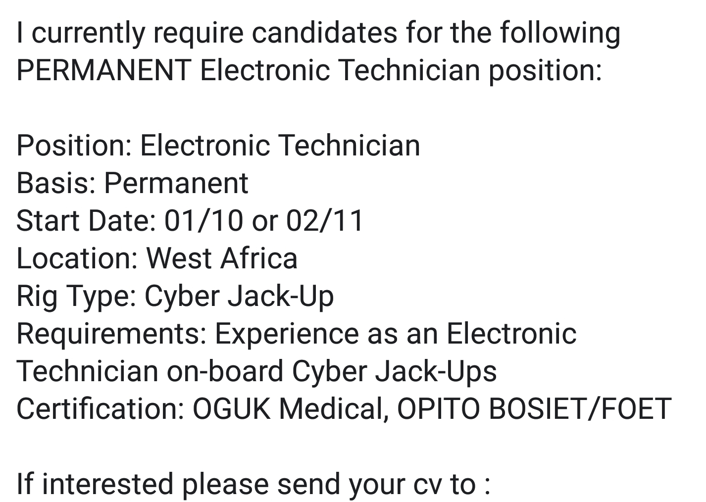 Oil And Gas Jobs Electronics Technician