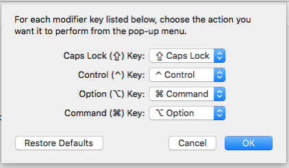 5 The Option key now works as the Command key
