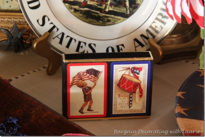 Playing cards in patriotic vignette