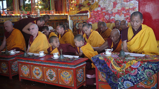 Ven. Steve, Ven.Roger Kunsang and young tulkus at long life puja, Kopan Monastery Dec 2010 .