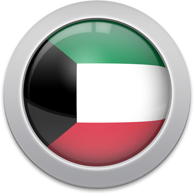 Kuwaiti flag icon with a silver frame