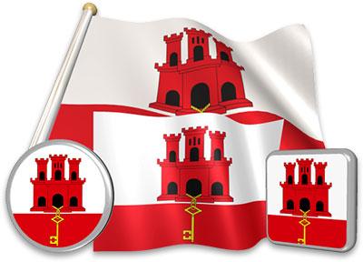 Gibraltar flag animated gif collection