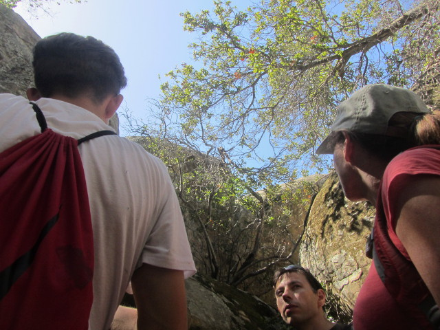 glancing upward to find rock all around