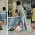 Boyfriend caught on camera wearing spouse's shoe