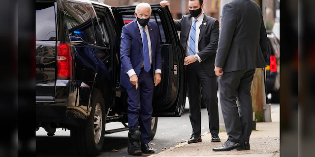 Joe Biden Shows Off Booted Injured Foot For The First Time