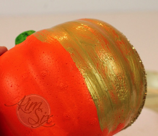 Metallic painted dollar store pumpkin