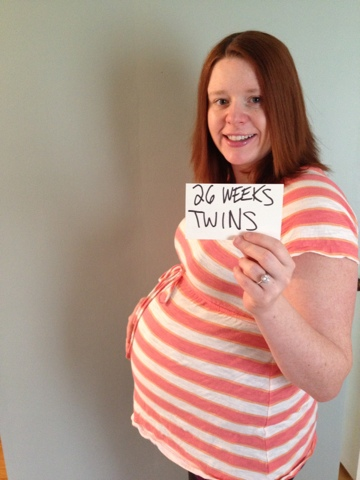 26 week twin belly