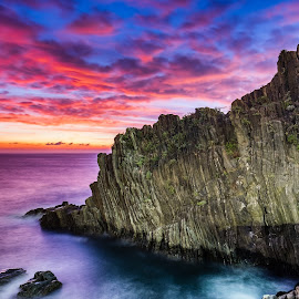 Riomaggiore Cliffs by Theodoros Theodorou - Landscapes Cloud Formations ( cliffs, seascape, x-t1, 16mm f1.4 r wr, fujinon, sunset, fujfilm, riomaggiore, clouds, italy )