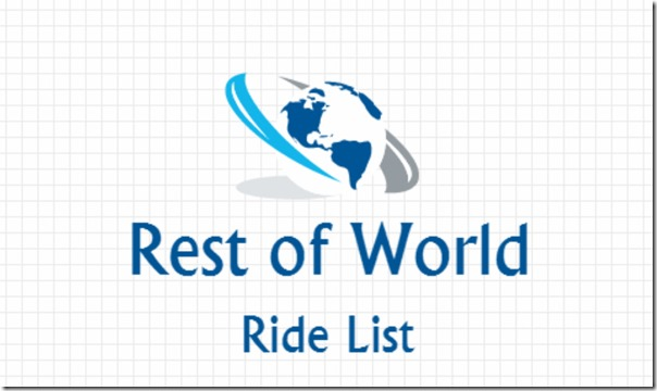 Ride List – Rest of World