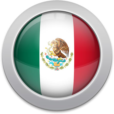 Mexican flag icon with a silver frame