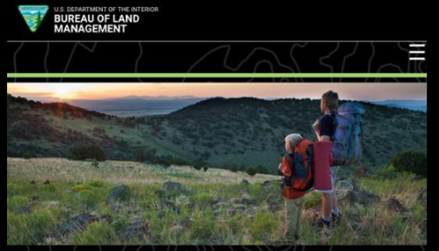 Screenshot of the U.S. Bureau of the Land Management web site on 5 April 2017, showing a photo of hikers looking across a wild vista. This image was replaced on 6 April 2017 with a photo of a coal seam, from Peabody Energy via Wikimedia Commons. Photo: BLM / Peabody Energy / Wikimedia Commons