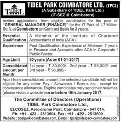 Tidel Park Coimbatore Limited Jobs 2017 indgovtjobs