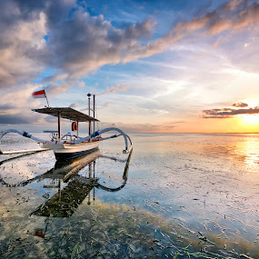 New Beginning  by Gary Kuen - Landscapes Sunsets & Sunrises ( bali, sanur beach, seaweeds, clouds formation, indonesia, reflections, sunrise, boat,  )
