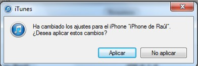 Aplicar cambios Iphone 5
