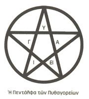 πεντάλφα των Πυθαγορείων,πεντάκτινο αστέρι,ελληνικό πεντάγραμμο,the Pythagorean pentagram, five-pointed star, Greek stave