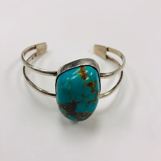 Sterling Silver and Turquoise J Hayes Cuff Bracelet