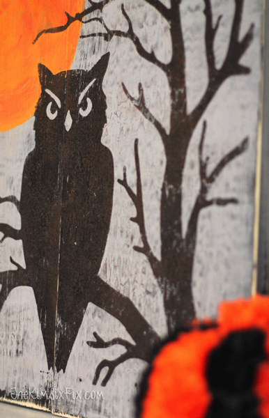 Distressed reclaimed wood art halloween