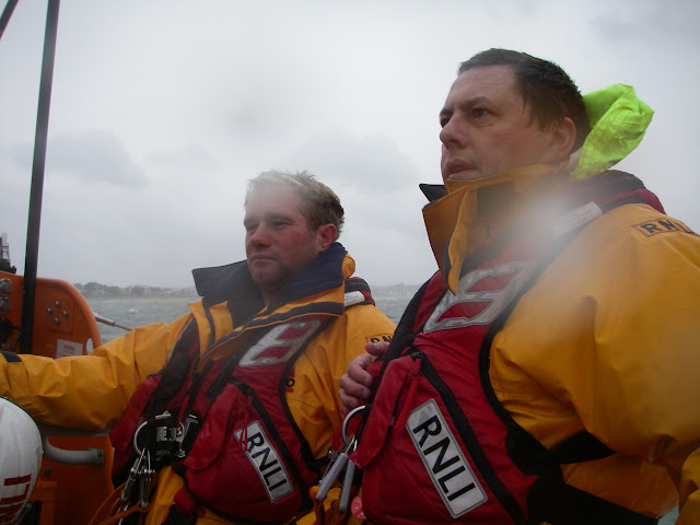 23 September 2012 - rough weather ALB training exercise in Poole Bay. JK and Ade just wondering where the decimal point should go! Photo credit: Poole RNLI/Dave Riley.