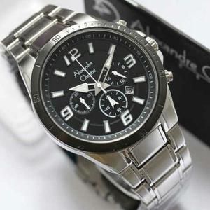 jam tangan  Alexandre christie 6345MC silver list hitam