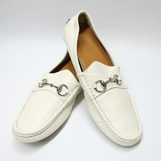 Gucci White Driving Mocs