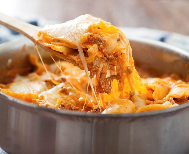 close-up photo of One Skillet Lasagna