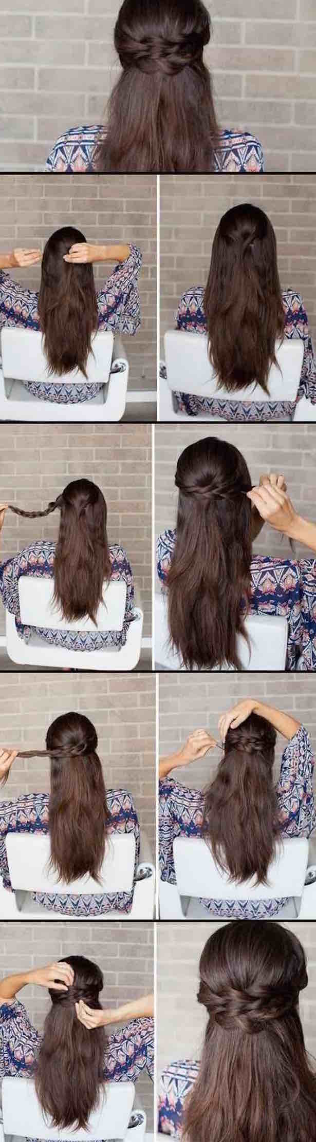2018 Easy Half-Up Half-Down Hairstyle Tutorials 2