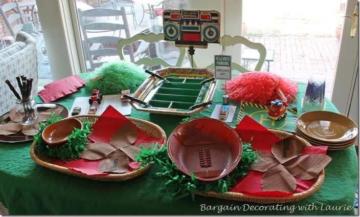 Superbowl Table-Bargain Deccorating with Laurie