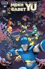 Actualización 20/07/2018: Floyd Wayne, Ahipe y Nick Valentine nos traen el numero 9 de Mech Cadet Yu. ¡Skip y los cadetes llevan la pelea Sharg, al espacio exterior!