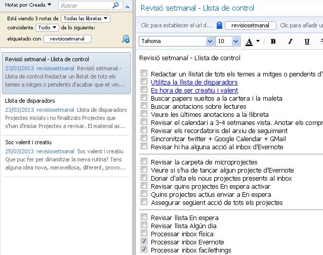 checklist revisió setmanal GTD en Evernote