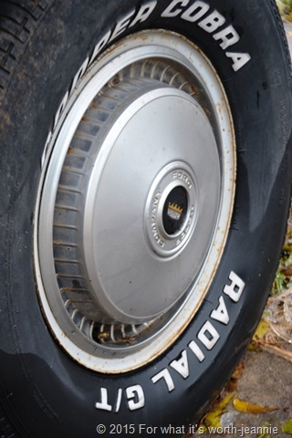 vintage truck tire in ice