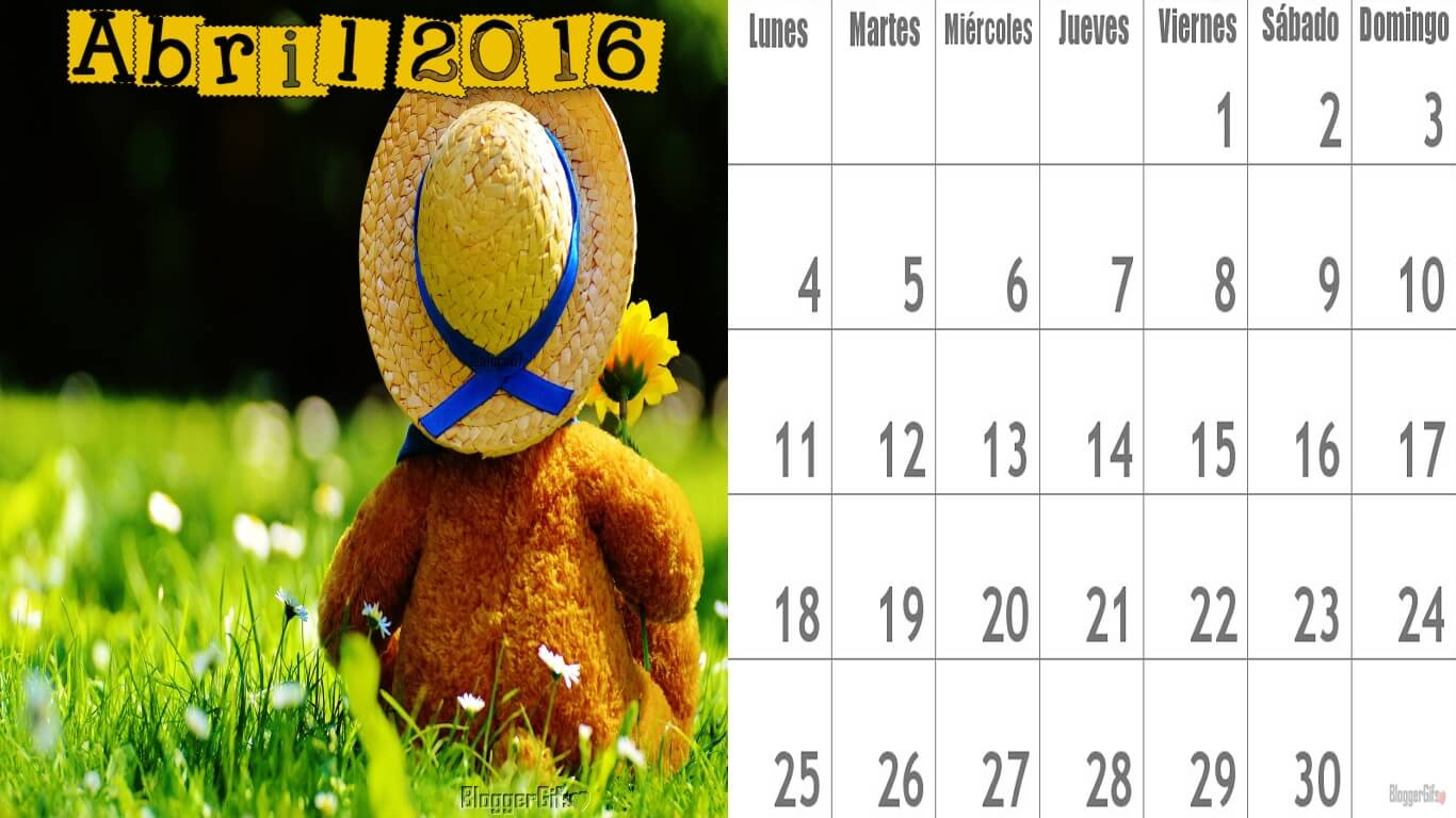 Calendario del Mes de Abril Mes de los Niños 1366x768 Osito con Sombrero y Flor en el Pasto