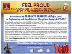 ONGC Graduate Trainees GATE 2017 www.indgovtjobs.in