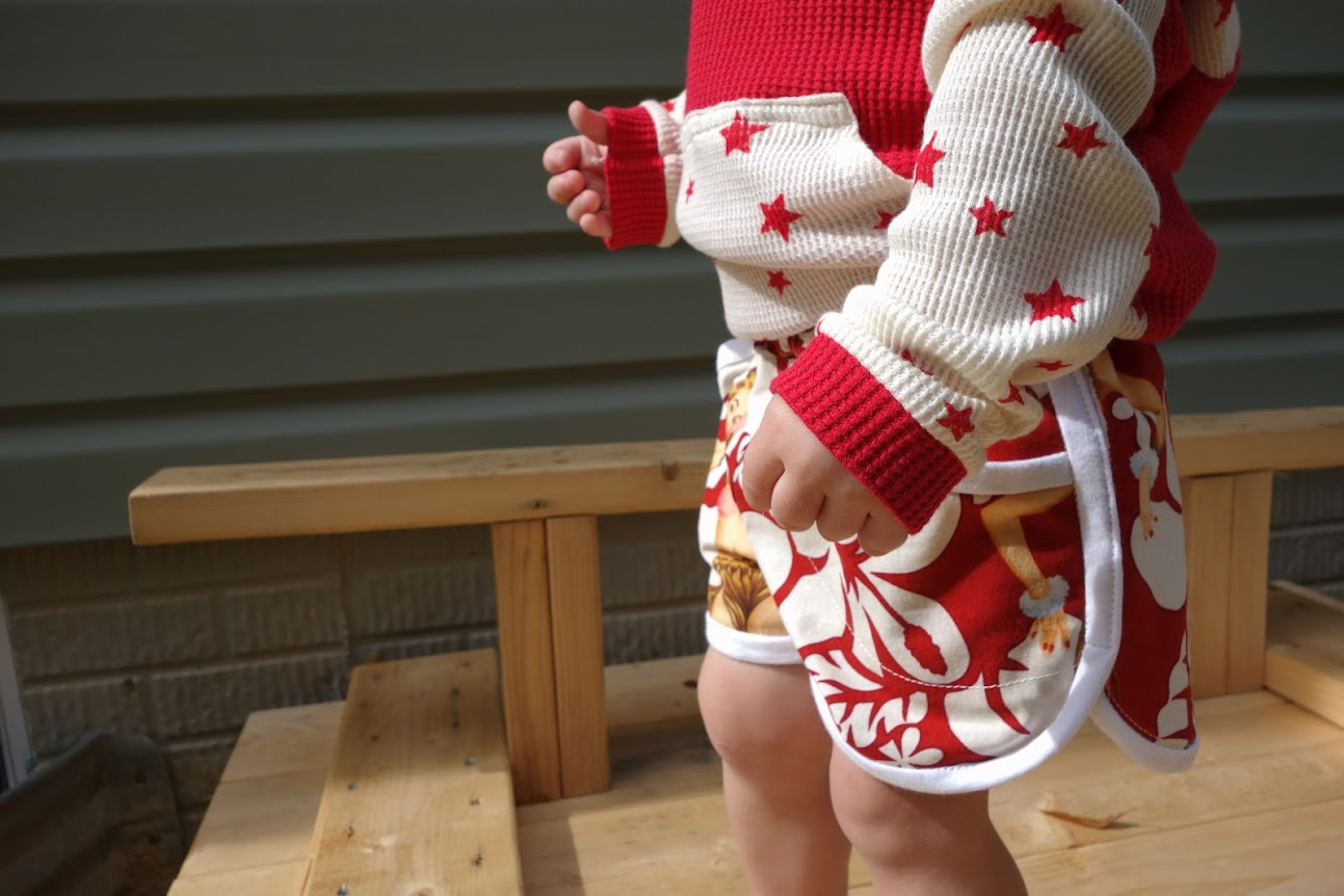 Beach Bum Bimaa hooodie and pin-up Prefontaine Shorts for boys || Made with Moxie || Ladies in his pockets, hawaiian style.