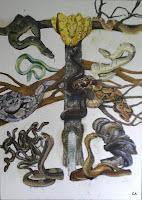 'SchlangenTotem', hier sieht man alle Schlangen, jedoch noch ohne Hintergrungs- Landschaft