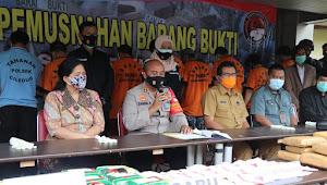 Polres Metro Tangerang Kota Musnahkan Barang Bukti Sabu dan Ganja