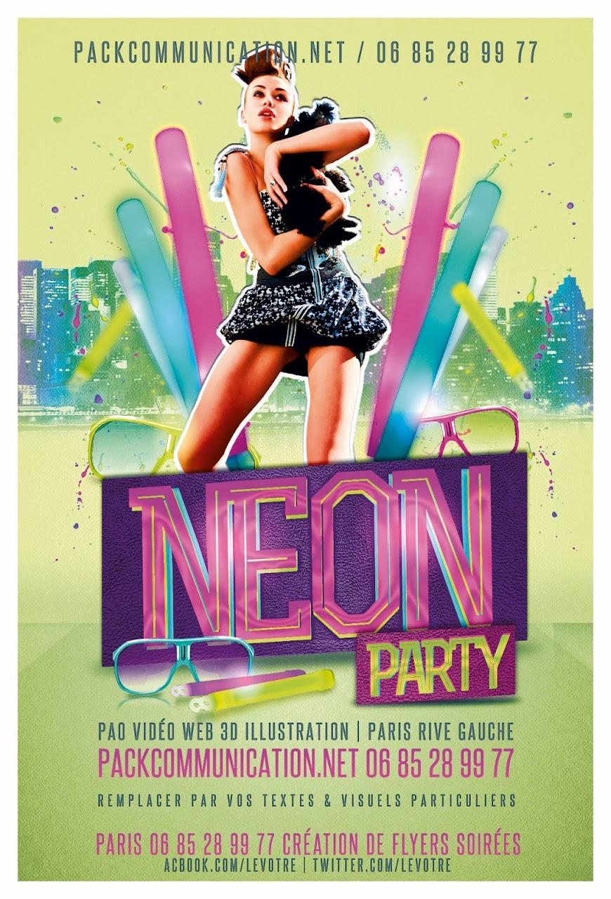 création flyers soirées thème Neon Party