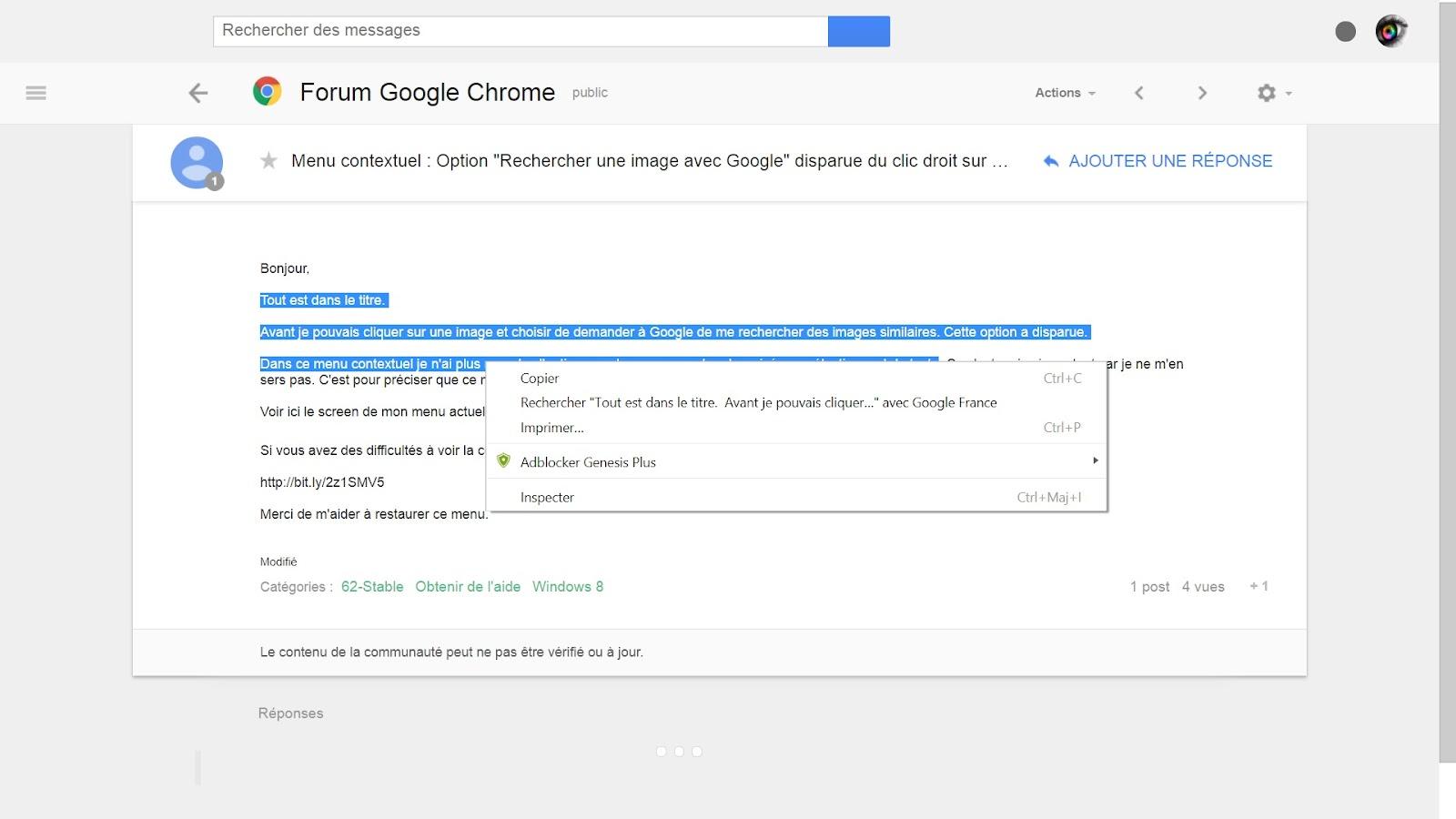 Menu Contextuel Option Rechercher Une Image Avec Google