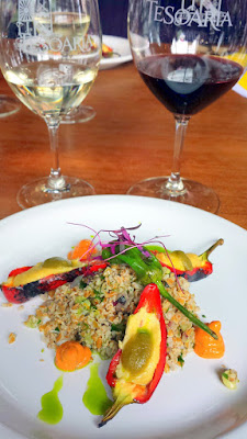 TeSóAria Wine and Vegan Food Pairing Brunch 2nd course Cashew Cheese Stuffed Peppers with Tabouleh, Sweet Romanesco and Mint Oil paired with 2015 Riesling and 2014 Bull's Blood