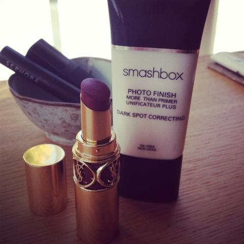 new makeup faves: YSL Forbidden Burgundy lipstick and Smashbox More than Primer