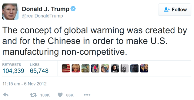 Donald Trump's infamous tweet claiming that global warming is a Chinese hoax. Graphic: Twitter
