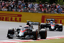 Jenson Button leads Fernando Alonso, McLaren MP4-30 Honda