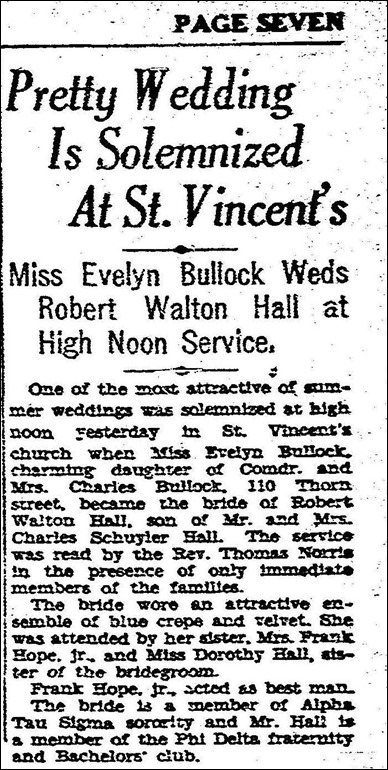 HALL_Robert W weds Evelyn BULLOCK _article in SD Union 16 Jul 1929_page 7_San Diego CA_cropped
