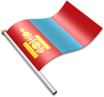 The Mongolian flag on a flagpole clipart image