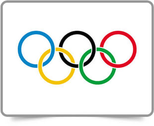Olympic framed flag icons with box shadow
