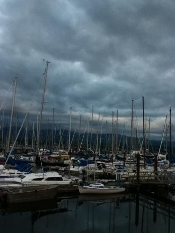 Dark sunset clouds at Comox Marina