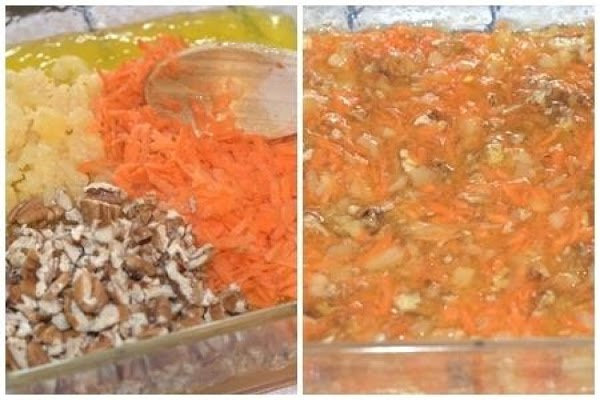 Add the reserved pineapple, shredded carrots, pecans and salt. Stir very well to combine...