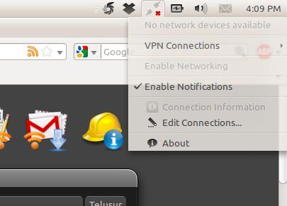 Pesan 'error' di Network Manager Applet