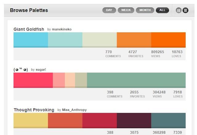 COLOURLovers.com Color Palette Browser